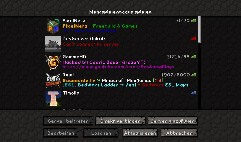 Erledigt Server Gehackt GommeHDnet - Minecraft spielen auf server
