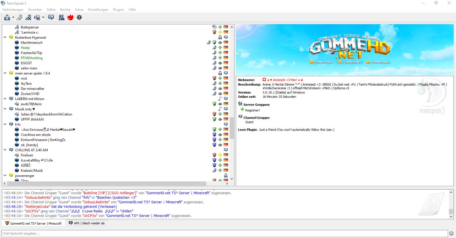 TeamSpeak GommeHDnet - Minecraft server erstellen wie gommehd