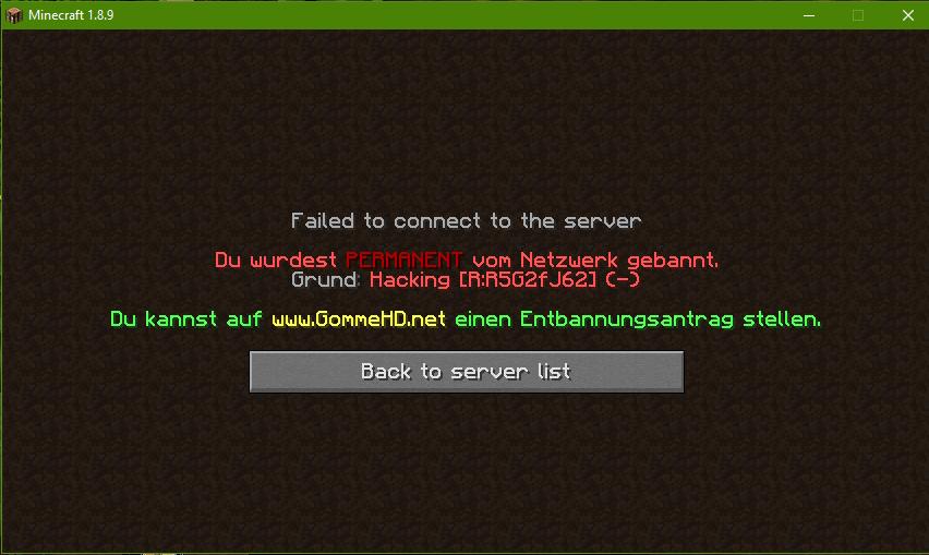 Erledigt Entbannen GommeHDnet - Minecraft spieler entbannen