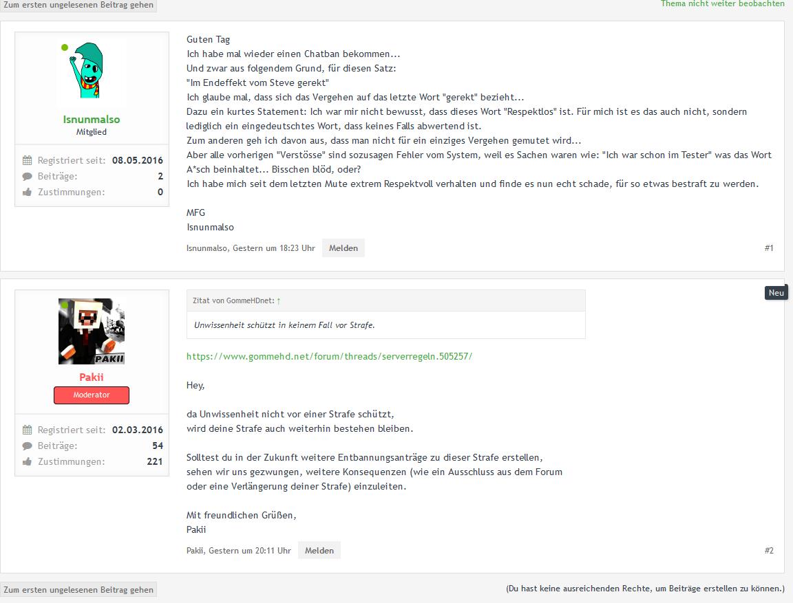Kritik Zu Chatbans GommeHDnet - Minecraft server regeln erstellen
